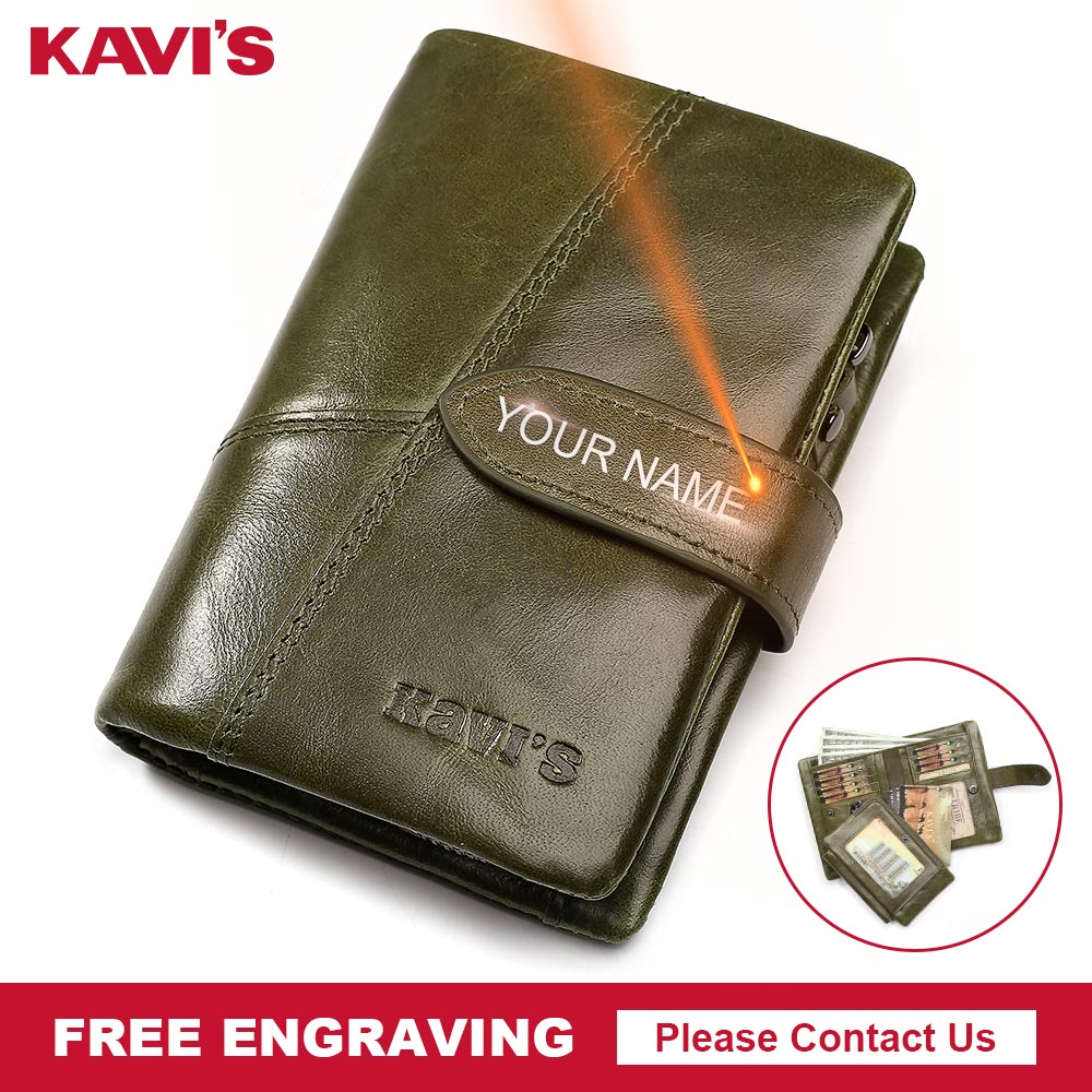 KAVIS Free Engraving Genuine Leather Wallet Women Female Small Coin Purse Walet Portomonee Lady Money Magic  Name Engraved