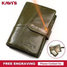 KAVIS 무료 판화 정품 가죽 지갑 여성 여성용 소형 동전 지갑 Walet Portomonee 레이디 머니 매직 이름 각인