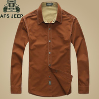 2015 New Brand AFS Jeep Men Shirt 100 Cotton Long Sleeve Outdoor Loose Casual Military Mens