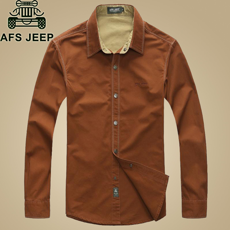 2018 New Brand AFS Jeep Men Shirt 100% Cotton Long Sleeve  Loose Casual Military Mens Shirts  Red Khaki Summer Style