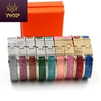 Newest Style 12mm Luxury Wrap H Bracelets Bangles Wristband BlingBling Enamel Bangle Letter Buckle Bracelets For