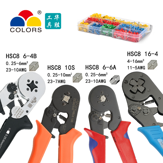 COLORS HSC8 10S crimping Pliers 0.25-10mm2 23-14AWG hexagon quadrilateral electric tube terminals box brand clamp hand tools