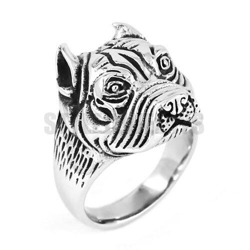 Wholesale Pit Bull Bulldog Dog Ring Stainless Steel Jewelry Vintage Motor Biker Men Rings Animal Ring SWR0512