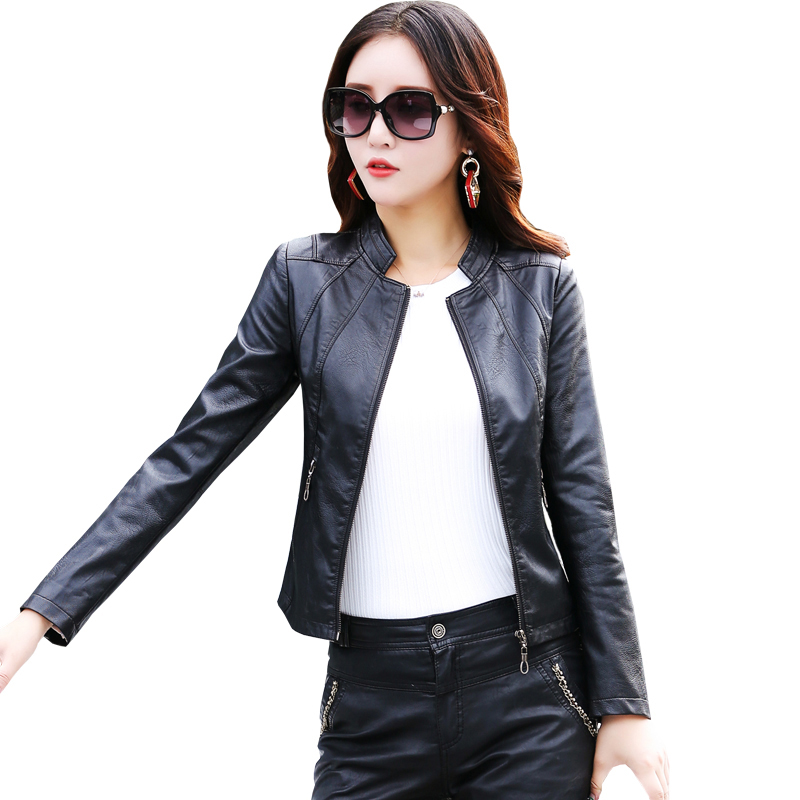 Fine   leather   jacket women short 2019 autumn new stand collar Slim sheep   leather     leather   jacket spring plus size coats women's