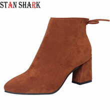 2019 New Women Suede Boots Flock Ankle Boots Women Winter Warm Women Boots High Heels Women Stretch Fabric Boots Big Size 34-40(China)