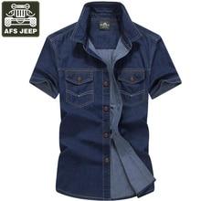 AFS JEEP Jeanshemd Short Schutzarme Jeanshemd Männer 2016 Plus größe 5XL Casual Shirts Camisa Denim Hombre Sommer Baumwolle Herrenhemd