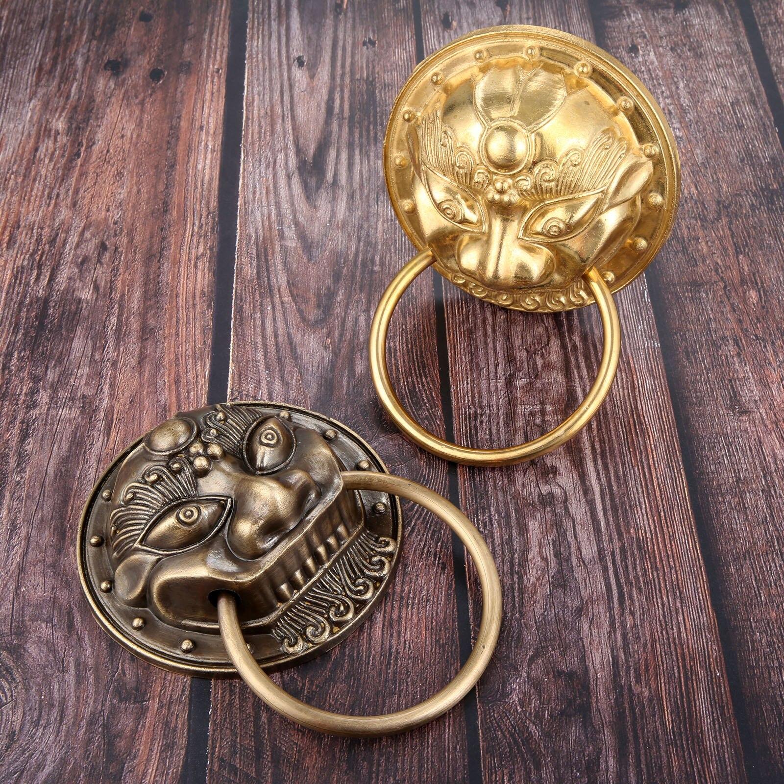 1Pc Vintage Bronze poignée chinois tête de Lion meubles porte en bois porte anneau poignée heurtoir Vintage tirer porte Knon laiton poignée