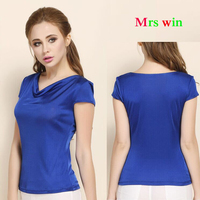 100 Real Silk Clothing Summer Female Knitted T Shirt Loose O Neck Casual Short Sleeve Tee