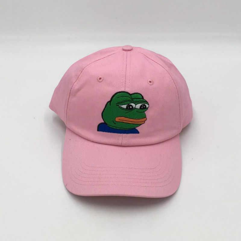 Hangi duş sad kurbağa snapback beyzbol şapkası erkekler ve kadınlar için nakış karikatür baba şapka Dikişli Yapılandırılmamış Rapçi kemikleri