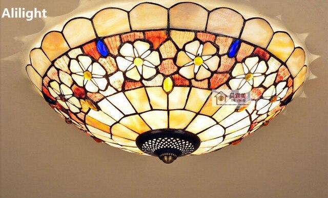 Plafoniere Stile Tiffany : Tiffany luce di soffitto stile mediterraneo camelia shell