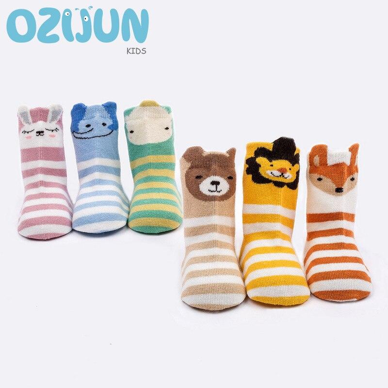 3 Pairs Baby Socks 1-3years Cute 3D Cartoon Anti-slip Socks Animal Cute Pattern Lion Fox Bear Elephant Hippo Colorful Stripe S/M