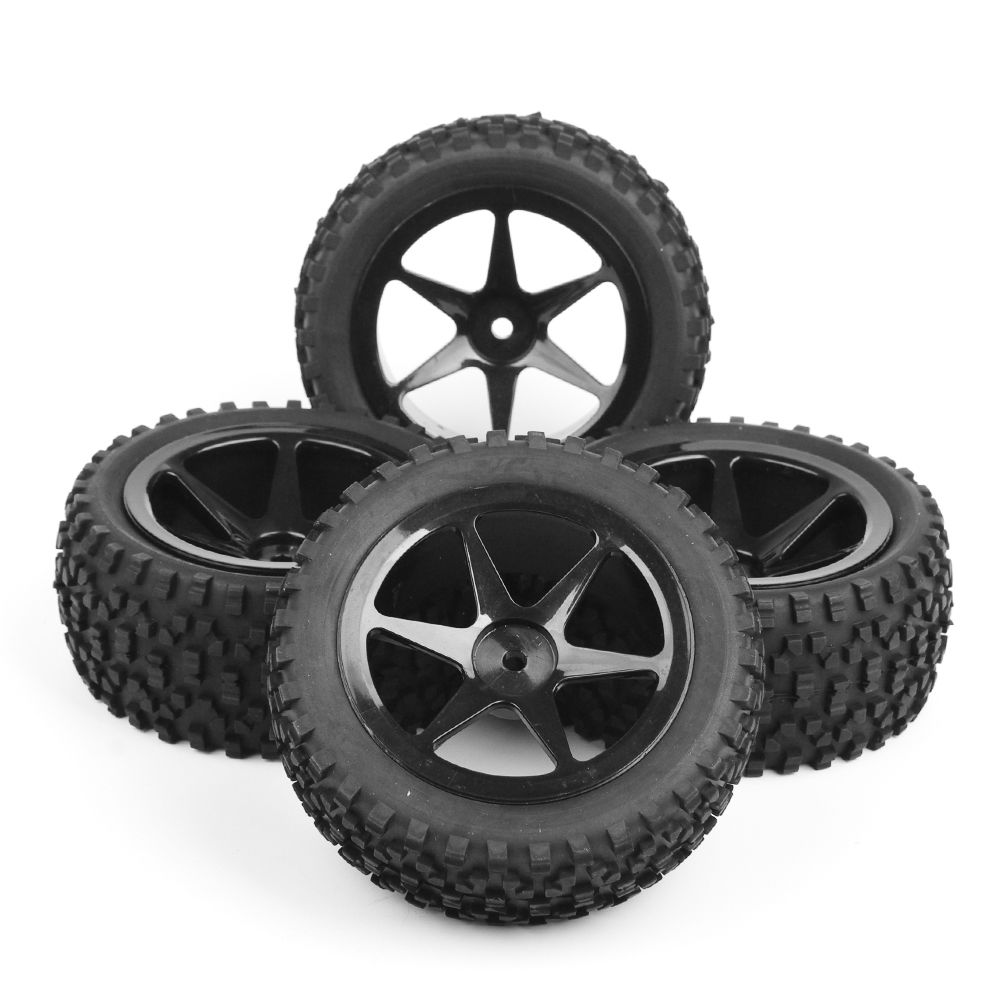 все цены на  4pcs/set Hex 12mm 1/10 RC Off-Road Buggy Car Tires Front&Rear Tyre Wheel Rim 25036+27011 Fit RC 1:10 Buggy Car Toys Accessories  онлайн