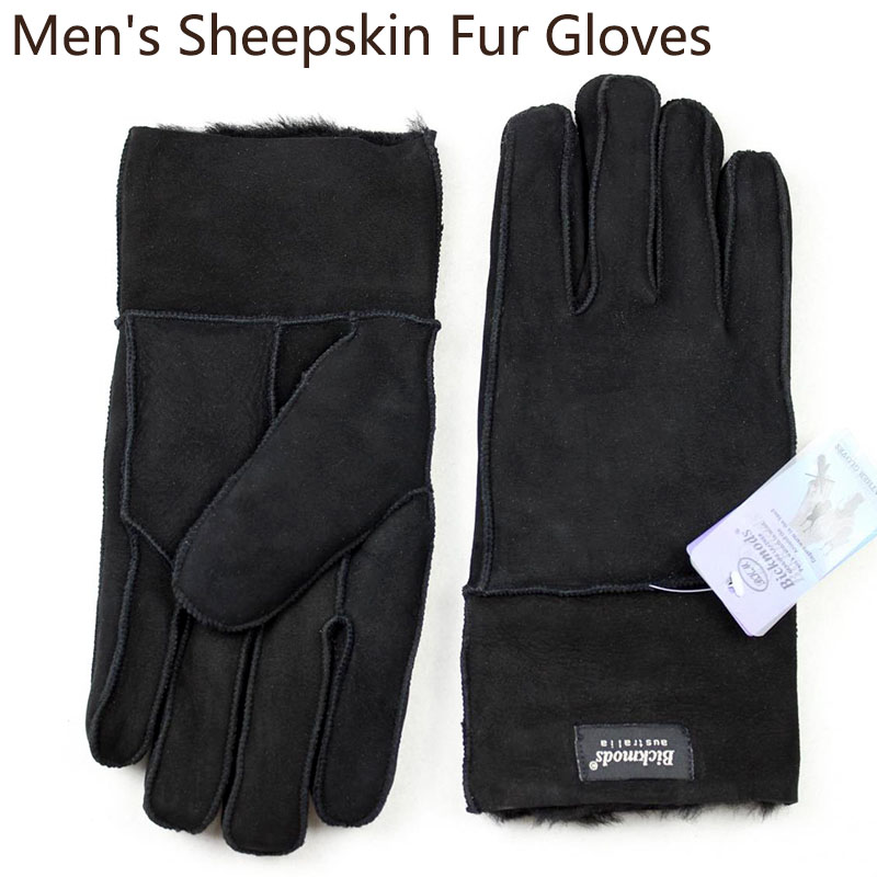 Winter Warm Sheepskin Fur Gloves Men's Thick Windproof Cold Leather Outdoor Cycling Sheep Leather Wool Stitching Style