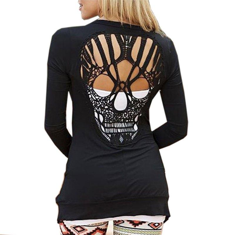 Mujeres verano otoño negro Casual chaqueta Jumper Tops manga larga Sexy espalda calavera corte suéteres