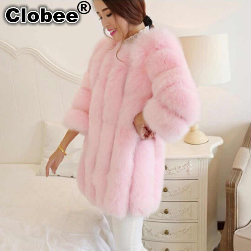 Зима 2018 5XL 6XL Плюс Размер зимняя куртка женская розовая шуба женская куртка из искусственного меха кролика длинный мнимый мех куртка