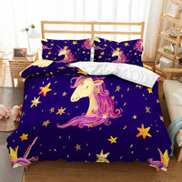 Fanaijia Bedding Set 3D Printed Duvet Cover Bed Set Unicorn Home Textiles Kids Bedclothes with Pillowcase Girl Gift