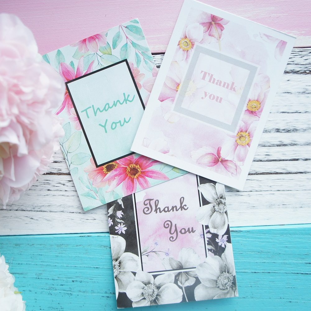 50pcs Mini Card flower thank you card elegant style multi-use as Scrapbooking invitation DIY Decoration party gift message card