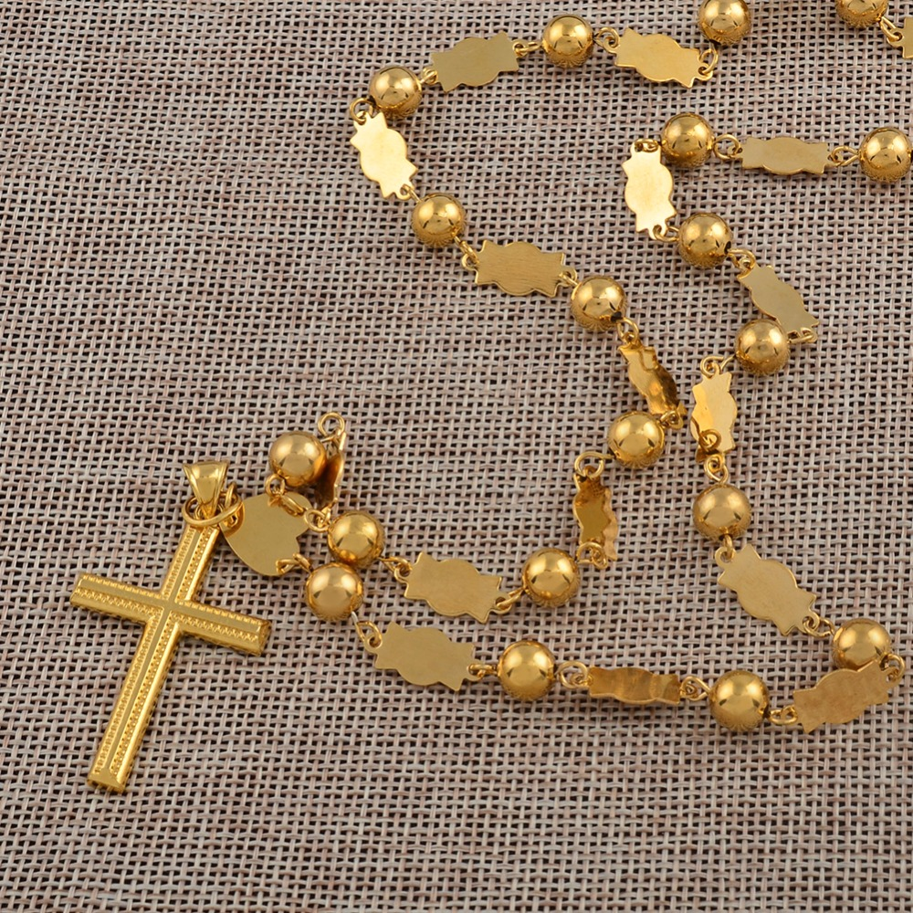 Anniyo 63cm / Marshall Necklaces Beads Chains With Cross Pen