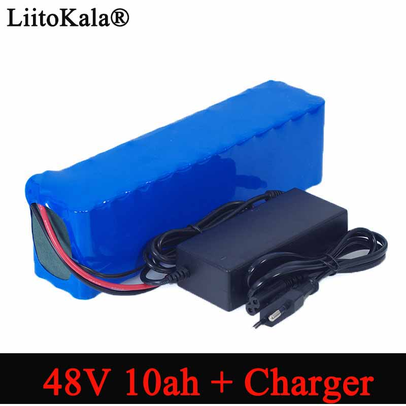 LiitoKala e-bike <font><b>battery</b></font> <font><b>48v</b></font> 10ah 18650 li-ion <font><b>battery</b></font> pack bike conversion kit bafang <font><b>1000w</b></font> + 54.6v Charger image