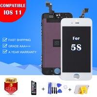 ホット販売aaa用appleのiphone 5 s lcdディスプレイタッチタッチスクリーンフルセットデジタイザ交換アセンブリ電話部品A1453カメラリング