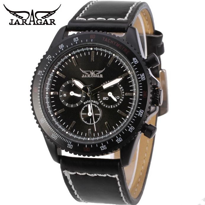 Fashion JARAGAR Men Luxury Brand Genuine Leather Band Casual Watch Tourbillion Automatic Mechanical Wristwatch Gift Box 2016 New simple fashion hand made wooden design wristwatch 2 colors rectangle dial genuine leather band casual men women watch best gift