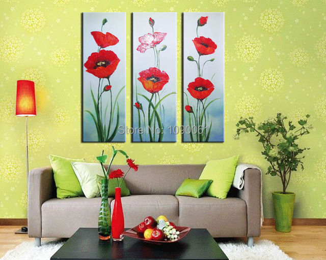 Handpainted 3 Piece Modern Abstract Red Poppy Flower Art Oil ...