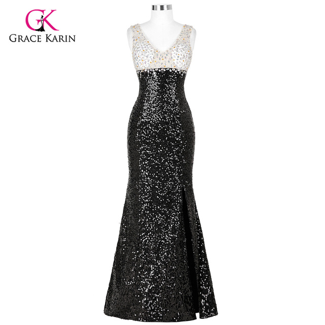 Backless Skirt Slits Sequins Prom Dresses 2018 New Style Crystal