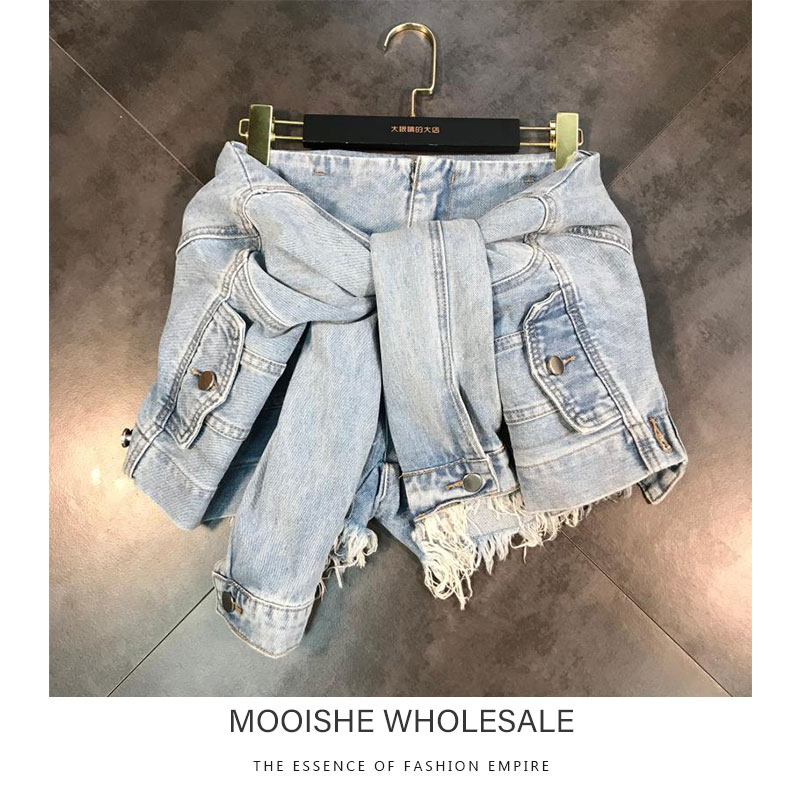 2019 summer new fashion fake two-piece with sleeves waist shaved casual denim   shorts   women