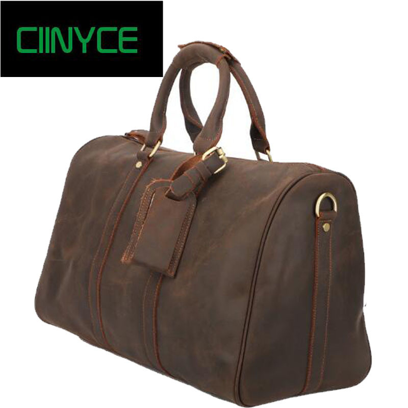 Vintage Crazy Horse Genuine Leather Travel bag Men Duffel Bag Luggage Travel Bag Large Men Leather Duffle Bag Weekend Tote Big 7077r crazy horse leather unisex dark brown huge luggage bag tote bag travel bag