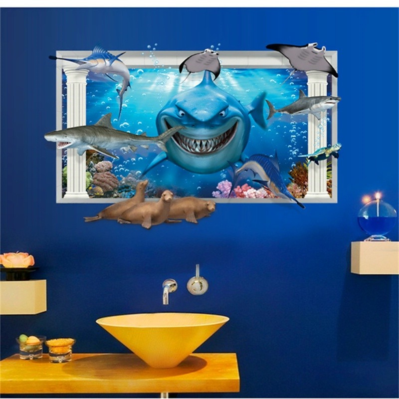 3d shark coming in whale dolphin animals blue sea world ocean view window home decals wall stickers bathroom washroom decoration
