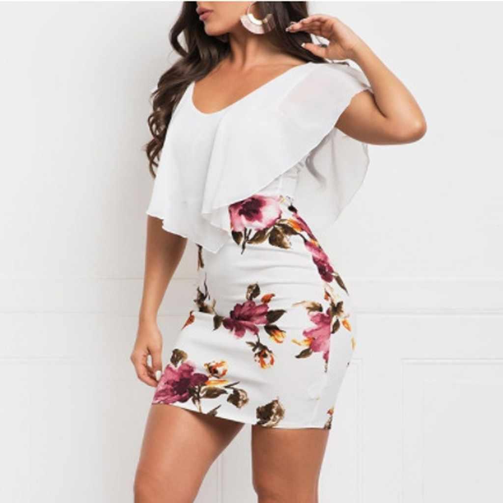SAGACE Sexy femmes robe 2019 grande taille sans manches imprimé Floral moulante vacances fête courte décontracté Mini robe d'été robe nouveau
