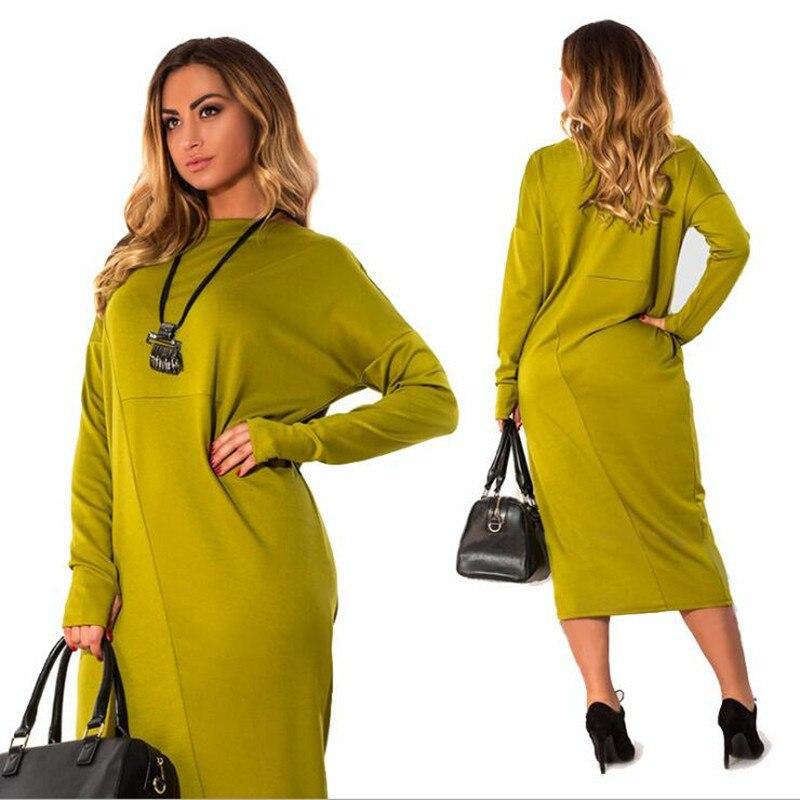 2018 New Autumn Elegant Casual Loose Large Size Female Ladies o-neck Red midi dress 6XL Plus Size Dress big women clothes