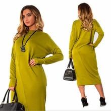 2018 новый осень элегантный Повседневное Свободные Большой Размеры женские с круглым вырезом платье миди красное 6xl плюс Размеры платье большой женщин одежда