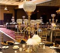 H88cm * W48cm, 5 головок хрустальные канделябры подсвечник свадьбы центральным ваза подсвечник с подвесками