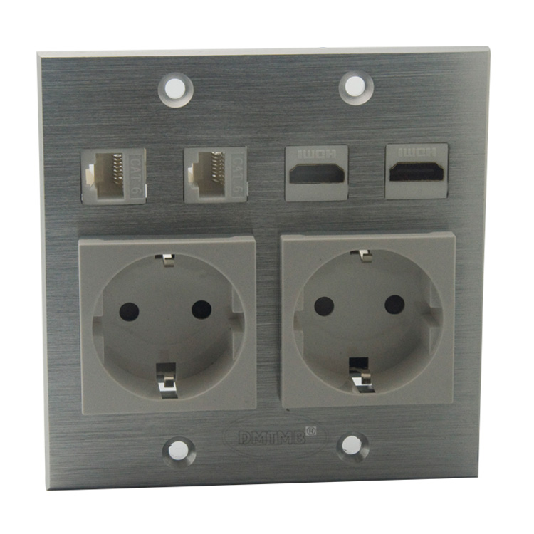 120 X 120mm Aluminum face plate with HDMI RJ45 EU AC power wall plate and support DIY цена