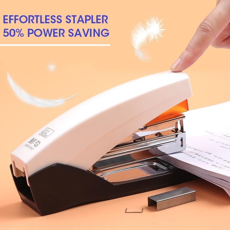 M&G 50 Sheets Effortless Heavy Duty Stapler Paper Book Binding Stapling Machine Standard School Office Supplies Stationery 25
