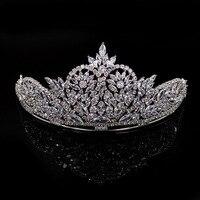 2017 neue Hochzeit Krone Schmuck Cystal Silber Farbe Krone Tiaras für Frauen Geschenke Brautkleid Schmuck Haar Krönen die Beste geschenk