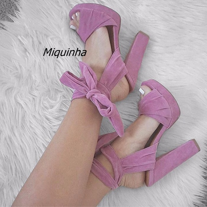 Здесь можно купить  Awesome Rose Red Block Heel Lace Up Dress Sandals Sexy Slingback Open Toe Platform Heels Classy Strapped in Tied Shoes New   Обувь