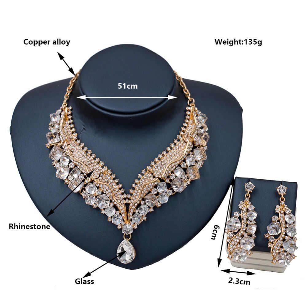 LAN ארמון חדש כניסות juwelen setjes vrouwen אוסטרי קריסטל שרשרת ועגילי חתונת שרשרת משלוח חינם