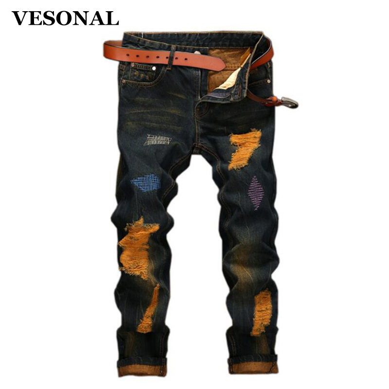 VESONAL 2017 Brand Straight Biker Hip Hop Swag Men Jeans Pants Fashion Casual Vintage Hole Slim Ripped Denim Mens Trousers VE119 2017 fashion mens patch jeans slim straight denim biker jeans trousers new brand superably jeans ripped dark jeans men u329