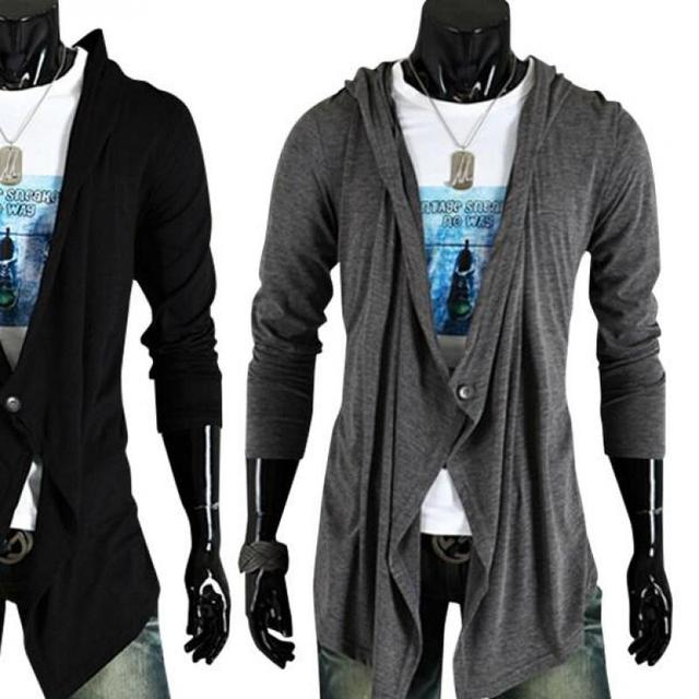 Mens Fashion Cardigan Hooded Sweater Shirt Personality Lengthen ...