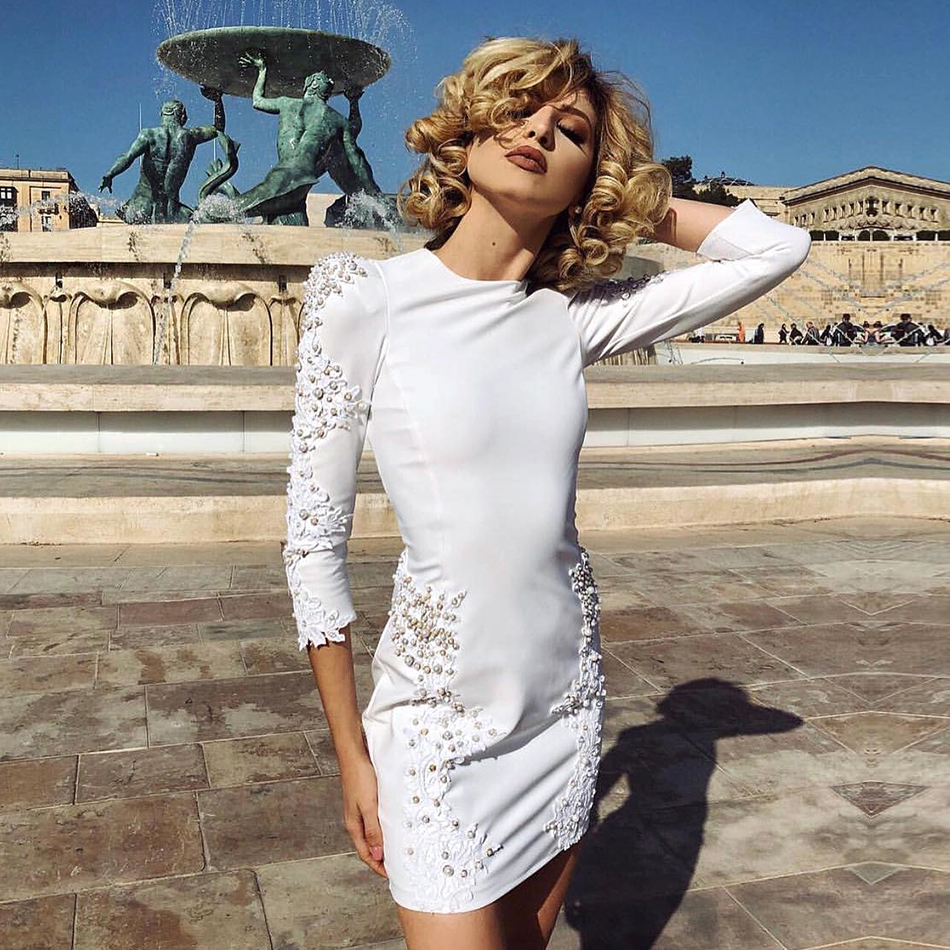ADYCE 2019 New Arrival Summer Women Bandage Dress Celebrity Evening Party Dress Sexy White Lace Pearl