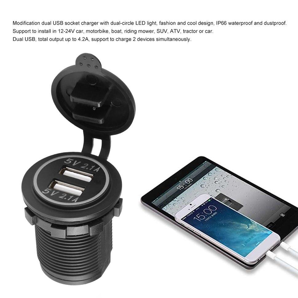 5 pièces 4.2A DC 12 V/24 V LED double USB chargeur prise de courant pour voiture bateau motos