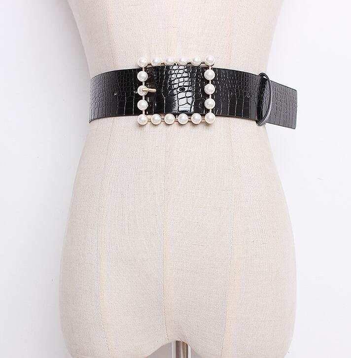 Women's Runway Fashion Pearl Buckle Pu Leather Cummerbunds Female Dress Corsets Waistband Belts Decoration Wide Belt R1653