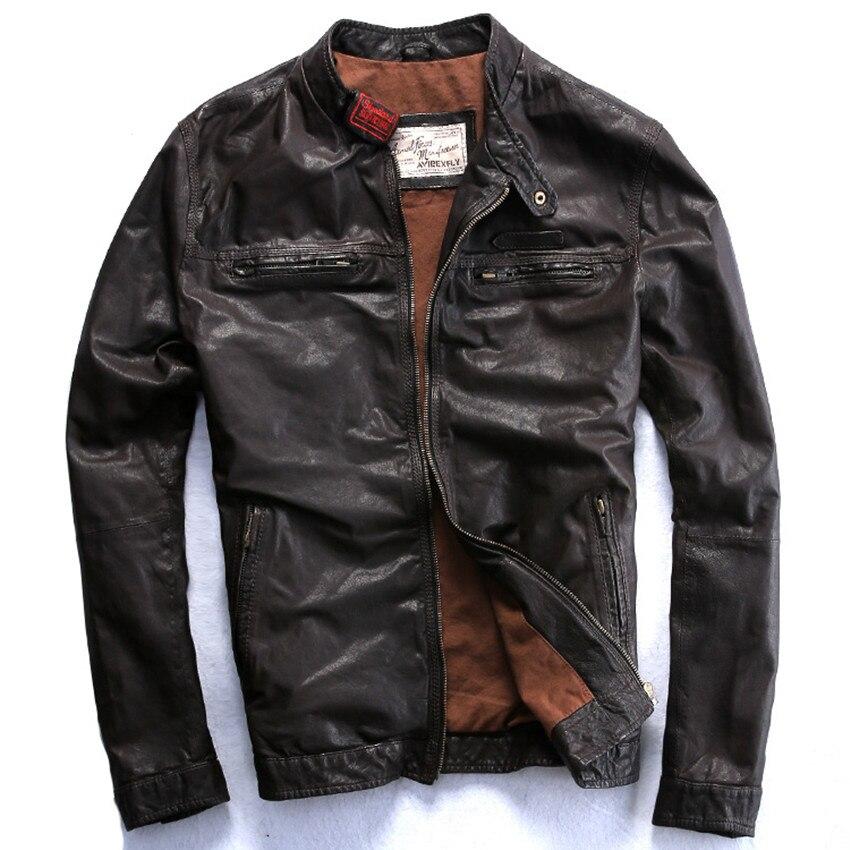 FLAVOR Men Biker Retro Brown Leather Motorcycle Jacket