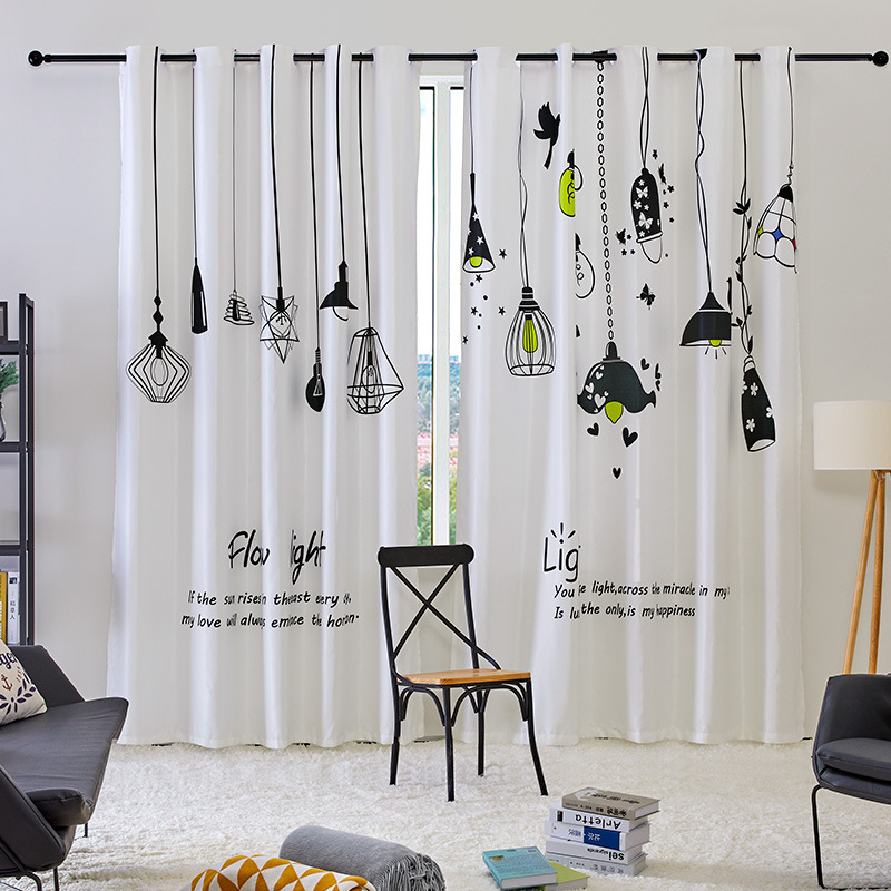 Korean Small Fresh Scandinavian Light Bulb Shade Curtains Customized Curtains for Living Dining Room Bedroom Window