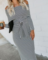 Women's off shoulder printed stripe double Midi Bodycon Dress Belt full sleeve knitted Autumn Winter Slash Neck  Dress 3