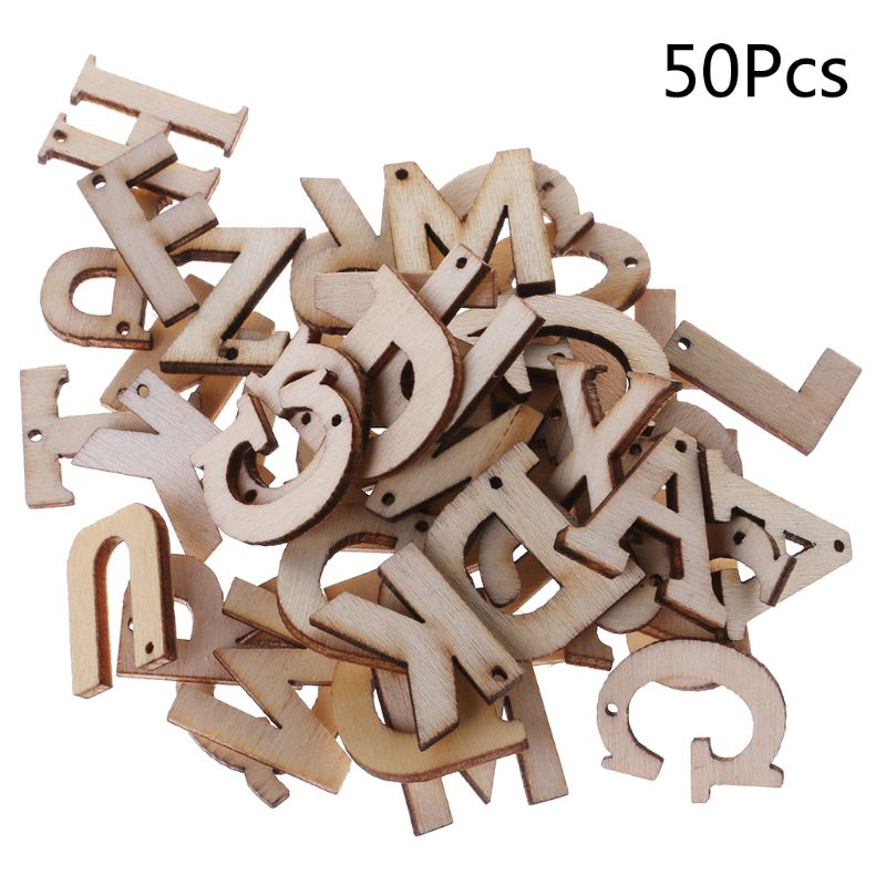 50pcs Laser Cut Wood Embellishment Wooden Letter Shape Craft Wedding Decor