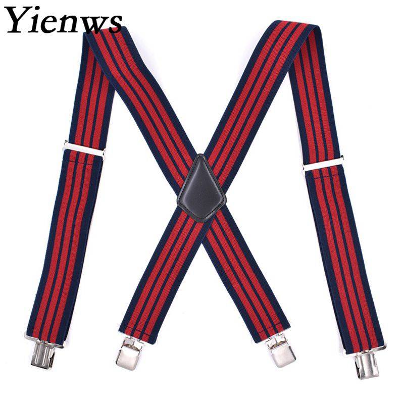 Yienws 120cm Suspensorios Homens Mens Braces For Trousers Red Navy Striped Suspenders For Mans 4 Clip X Sharp Szelki YiA052