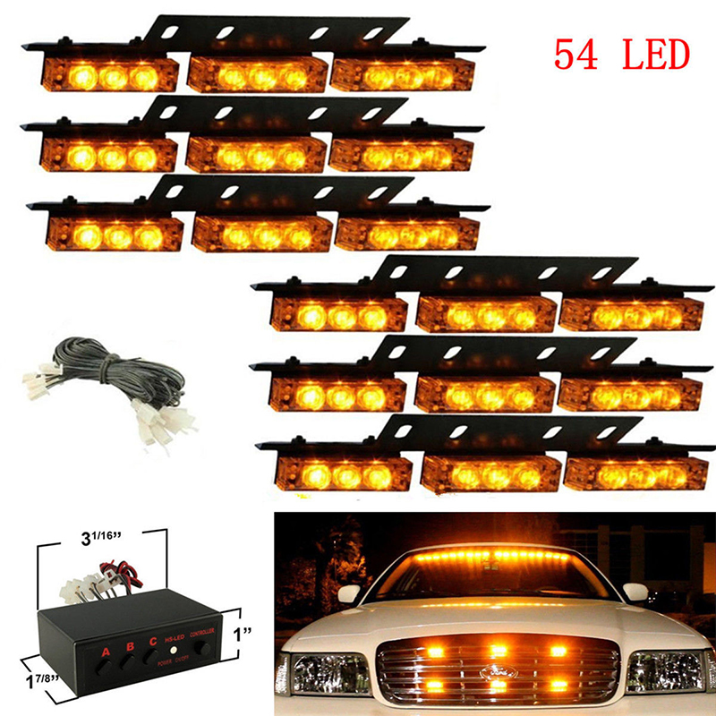 54 LED Emergency Warning Flashing Strobe Light Grille Lamp One Drag Six Car Flashing Light Car Car LED Lights Lamp Car Bulbs